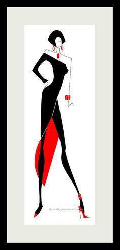 Art Fashion Illustration  Little Black by ArtFashionByRomilly, £15.00