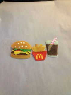 Burger fries an a coke perler art