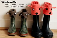 Quickly sew up a pair of cute Fox or Bear organic fleece welly liners. PDF pattern UK children's sizes 7 & 11 and flatlocking tutorial included.
