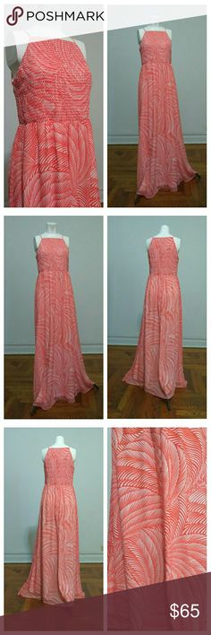 """London Times Maxi Coral Print Dress NWOT London Times Maxi Red-Orange (coral) Color Print Dress NWOT. Length: 58"""".  PRICE FIRM = NOT ACCEPTING OFFER. THANKS ;-) London Times Dresses Maxi"""