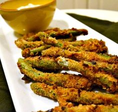 Baked Green Bean Fries. Yum. Tried these tonight and loved them. Added a dash of garlic powder.