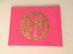 Pink and glitter Phi Mu monogram canvas Frat Girls, Phi Mu Crafts, Theta, Kappa, Big Little Canvas, Big Little Reveal, Alpha Xi Delta, Sorority Life, Chi Omega