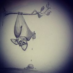 This is why bats don't eat ice cream!  #pencil #drawing #bat #ice cream #funny #cute