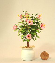Dollhouse miniature 1/12th scale pink hibiscus bush by Mary Kinloch IGMA fellow in Dolls & Bears | eBay