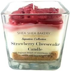 Strawberry Cheesecake Signature Candle The Strawberry Cheesecake Candle smells and looks good enough to eat! This unbelievably realistic candle comes complete with a brown sugar crust, creamy strawberry cream scented filling with strawberr Unique Candles, Beautiful Candles, Diy Candles, Decorating Candles, Candle Decorations, Beeswax Candles, Centerpieces, Expensive Candles, Candle Maker