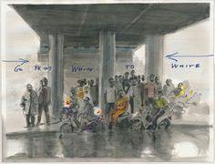 Imagen creada por adición, dibujo sobre papel a tinta y rotulador. TÍTULO: Oil workers (from white to white). AÑO: 2013. AUTOR: David Claerbout
