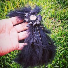 Swan Lake Ballet Feather Headpiece Black by KatelinasBoutique