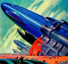 Love this, especially the electric blue rocket. Everyone should have one in her driveway lol! --Pia (Vintage sci-fi Illustration - cover for Astounding Science Fiction, August 1941 (via dark roasted blend))