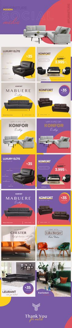 """Check out this project: """"Furniture Modern Social Media Post Design"""" www. Social Media Ad, Social Media Banner, Social Media Template, Social Media Marketing, Post Design, Web Design, Layout Design, Media Furniture, Furniture Ads"""
