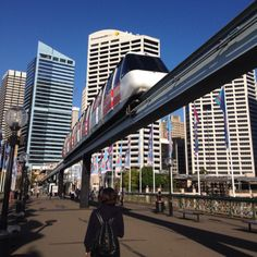 Do u see the train is right above u? Sydney darling harbor.