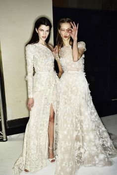 Tanya Katysheva and Antonia Wesseloh  Backstage at Elie Saab Haute Couture Spring 2014