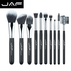 JAF Professional 10 pieces Cosmetic Makeup Brush set Soft Taklon Fiber Pincel Maquiagem Make-up Brushes Tool Kit J10NNS