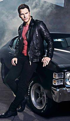 Chris Pratt looks pretty good too! Chris Pratt, Leather Jeans, Leather Jacket, White Leather, Men Photography, Automotive Photography, Portrait Photography, Men Photoshoot, Tough Guy