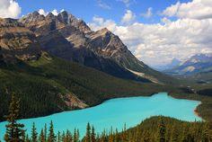 Lago Peyto     La última de las diez maravillas naturales de Canadá es otra joya de la naturaleza, perteneciente a las Montañas Rocosas, pero con una belleza que se ha ganado un puesto especial. Guardado entre montañas de picos helados y disimulado entre bosques tupidos, el Lago glaciar Peyto se enorgullece de ser considerado uno de los lugares más bellos del país del norte.