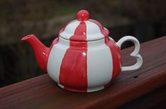 Handcrafted Ceramic Candy-Cane Teapot, Peppermint Tea Pot, Tea for One, Small Teapot, Red and white teapot, Christmas Teapot, Candy Cane Pot