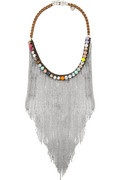 SHOUROUK- Dallas bib necklace, Dotted with jolts of neon, this dazzling silver-plated design is sure to turn heads. Layer this elegantly tasseled piece over a monochrome top for the most striking style statement.