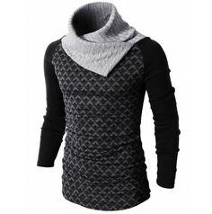 Mens Casual Slim Fit Tartan Checked Turtleneck Pullover Sweater doublju (KMTTL049)