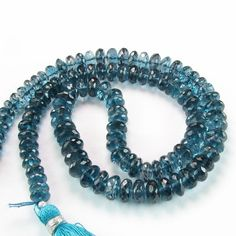 AAA London Blue Topaz Faceted Rondelle Gemstone by BeadingHeartCo, $38.00