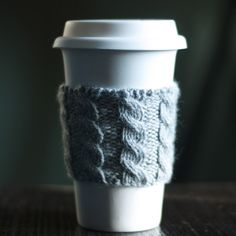Cable Knit Coffee Cozy . . . use the cuff of an old sweater and make your own!