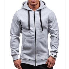 LeeLion 2018 Spring Hoodies Men Solid Zipper Cardigan Sweatshirts Slim Fit  Sportswear Fashion Casual Tracksuit Dropshipping dba514be2