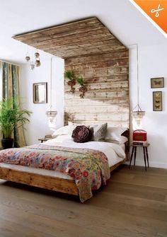 Diy wood headboard designs attractive best reclaimed wood headboard ideas on amazing cool wood headboards interior . Boho Chic Bedroom, Dream Bedroom, Home Bedroom, Bedroom Decor, Bedroom Ideas, Bedroom Wall, Bedroom Inspiration, Bedroom Furniture, Bohemian Room