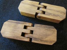 Set of 2 Handcrafted Wooden Hinges, Ash with Walnut Stain, Ready for Your Woodworking Project