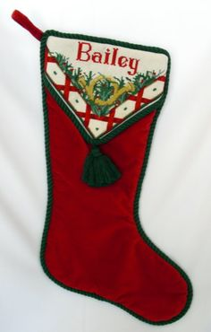 Bailey's needlepoint Christmas stocking topper.
