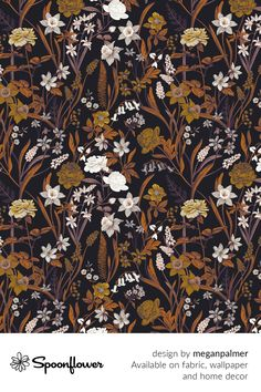 Customize your own home decor, #wallpaper and #fabric at Spoonflower. Shop your favorite indie designs on #fabric, #wallpaper and home decor products on Spoonflower, all printed with #eco-friendly inks and handmade in the United States. #patterndesign #textildesign #pattern #digitalprinting #homedecor #floral #dark #brown Fabric Wallpaper, Floral Designs, Creative Inspiration, Watercolor Flowers, Custom Fabric, Spoonflower, Diy Wedding, Dark Brown, Journaling