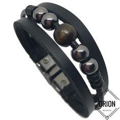 Pulseira Preta de couro com pedra hematita, Orion Braceletes sua loja de pulseiras na internet, compre sem sair de casa!