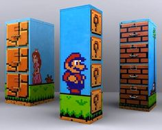 Who doesn't know Super Mario game? All entire world whether kids and teenager knows Super Mario game. And why don't we use this popular Super Mario to be a Super Mario Bros, Geeks, Deco Gamer, Mario Room, Gamer Room, Room Themes, Craft Activities, Nerdy, Creations