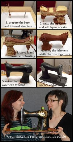 Vintage Sewing Machine Cake Progress by CakeUpStudio on deviantART, a lot of work, but so clever