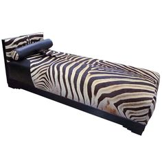 Exquisite Art Deco French Chaise Longue with Zebra Skin | From a unique collection of antique and modern day beds at https://www.1stdibs.com/furniture/seating/day-beds/