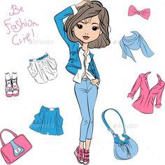 Vector Beautiful Fashion Girl Top Models