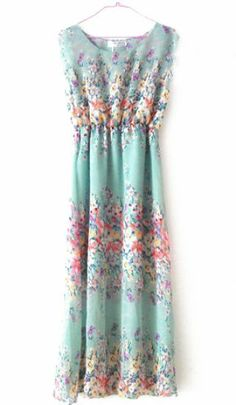 Green Sleeveless Floral Bandeau Tank Chiffon Dress pictures