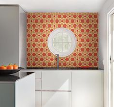 Energize decor with a fabulous geometric wallcovering infused in a bright red and orange color way. A mod floral pattern with suede textured petals, creates a contemporary mosaic design on walls. Order today at http://lelandswallpaper.com/store/Wallpaper%20Catalog/Modern/Item:Show:Blossom%20Red%20Geometric%20Floral%20Wallpaper%2083SSII #orange #retro #floral
