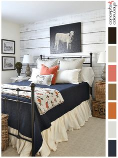 color palette for country style bedroom, color palettes, color combinations, color schemes, color ideas, color for interiors, color inspiration, bedroom design ideas, bedroom design inspiration, navy blue, burnt orange, coral peach, putty gray, black, white, natural brown, light gray, pantone autumn maple