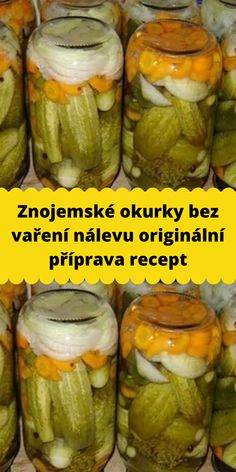 Znojemské okurky bez vaření nálevu originální příprava recept Vegan Recipes, Cooking Recipes, Czech Recipes, Graham Crackers, Pickles, Cucumber, Good Food, Food And Drink, Lunch