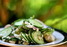 cucumber salad with mint and feta.