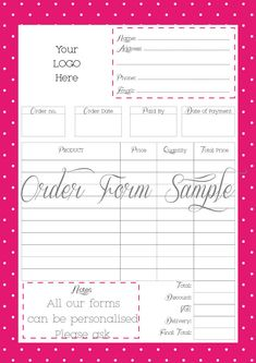 Business store forms - Order Form - Custom Order Form - Printable - PDF FILE - Personalised With your logo - Any size - Office stationery by InkonPaperDesign on Etsy https://www.etsy.com/uk/listing/451917470/business-store-forms-order-form-custom