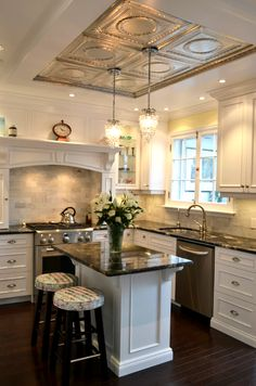 Gorgeous ceiling adds appeal and personality to this kitchen.
