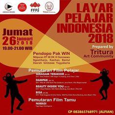 #Event LAYAR PELAJAR INDONESIA oleh Komunitas Seni TRITURA.  Mari NONTON dan NGOBROL bareng setelah acara pada hari Jumat 26 Januari 2018 | Pkl. 19.00-21.00 WIB |  Pendopo Pak WIN Nitipuran RT 08 DK VI Sonosewu Ngestiharjo Kasihan Bantul #Yogyakarta. | CP: WA Alfian 0838-6576-8971  Komunitas Seni TRITURA mengundang sedulur-sedulur pelajar Yogyakarta dan sekitarnya untuk menghadiri acara LAYAR PELAJAR INDONESIA. Kegiatan perdana di bulan Januari ini akan memutar beberapa film pendek terpilih…