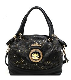 $44.99  Betty Boop Handbag Black  SIZE L13 W5 H12 L/from side 8.5 L/from center 12        High quality synthetic leather with dual shoulder straps. Top zipper closure and rear zipper pocket. Full lined interior with small compartments for cell phone or keys. Additional Long shoulder strap. Betty Boop decorates the center
