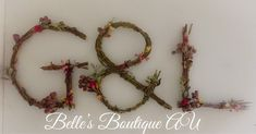 Woodland boho nursery, twig letters, custom wooden floral letters, rustic home decor, rustic wedding decor, Australian native decorations