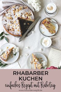 Simple recipe for rhubarb cake with orange and nuts. The pastry cake is baked quickly and easily in the springform pan. You only need a few ingredients for this succulent rhubarb cake Simple recipe for rhubarb cake with orange and nuts. Rhubarb Cake, Rhubarb Recipes, Springform Pan, Pastry Cake, Few Ingredients, Afternoon Snacks, Orange, Easy Meals, Baking