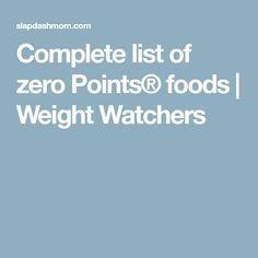 Complete list of zero Points® foods | Weight Watchers