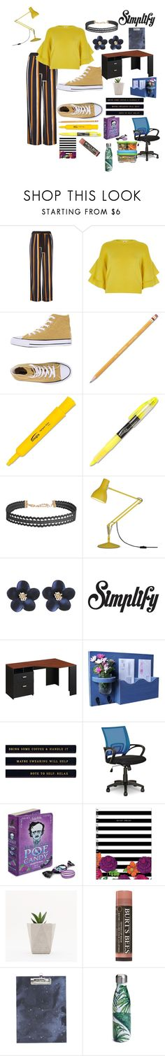 """""""Simply Put"""" by dumb-ass-cactus ❤ liked on Polyvore featuring Dorothy Perkins, River Island, Converse, Paper Mate, Humble Chic, Anglepoise, Bush Furniture, House Doctor, S'well and Rubbermaid"""
