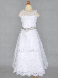 White A-Line Round Tea-length Lace Beading Flower Girl Dress (110326)