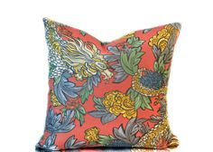 Red Ming Dragon Pillow Cover Red Asian Dragon by InkandLinenCo