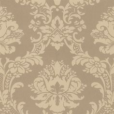 Gold and Beige Brittany Damask Wallpaper