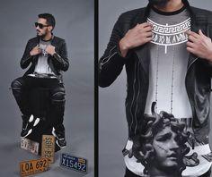 camisa+jaqueta de couro